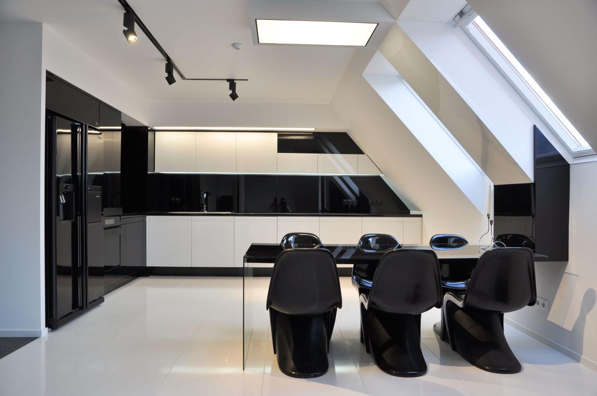 Black & White Kitchen, Dining Space, Apartment Interior by Jovo Bozhinovski