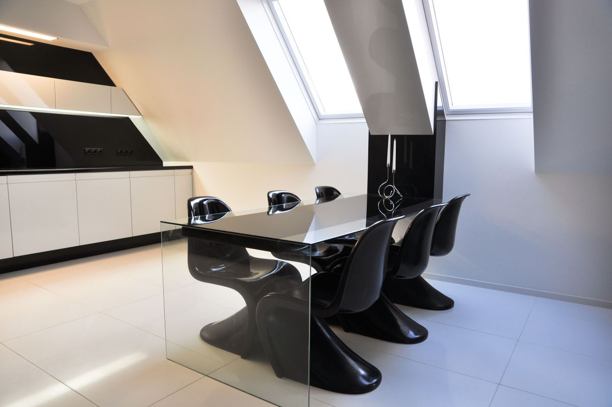 Glass Dining Table, Black Chairs, Apartment Interior by Jovo Bozhinovski