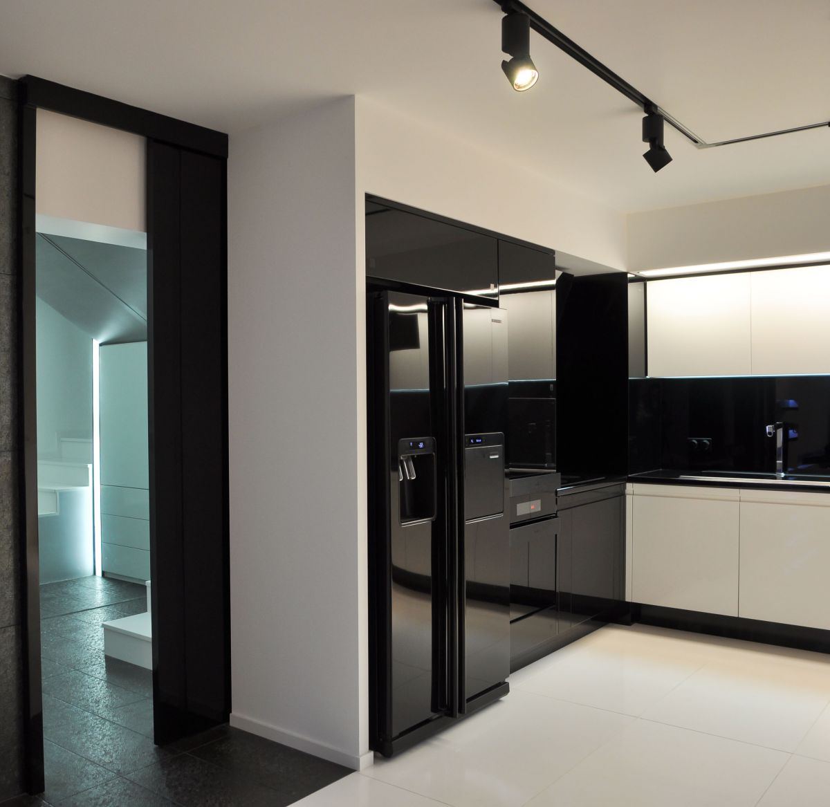 Kitchen, Black Fridge Freezer, Apartment Interior by Jovo Bozhinovski