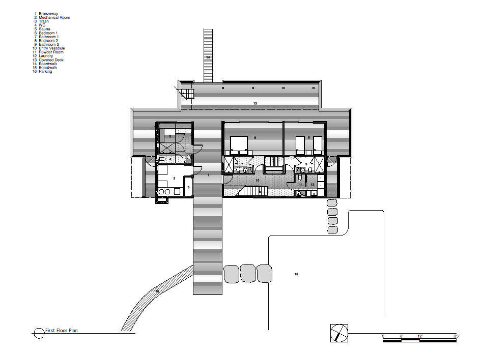 First Floor Plan, Surfside House in Bridgehampton, New York by Stelle Architects