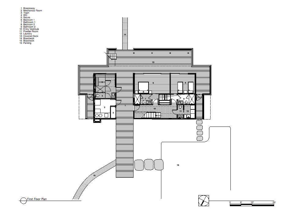 First Floor Plan, Surfside House in Bridgehampton, New York by Stelle Architects