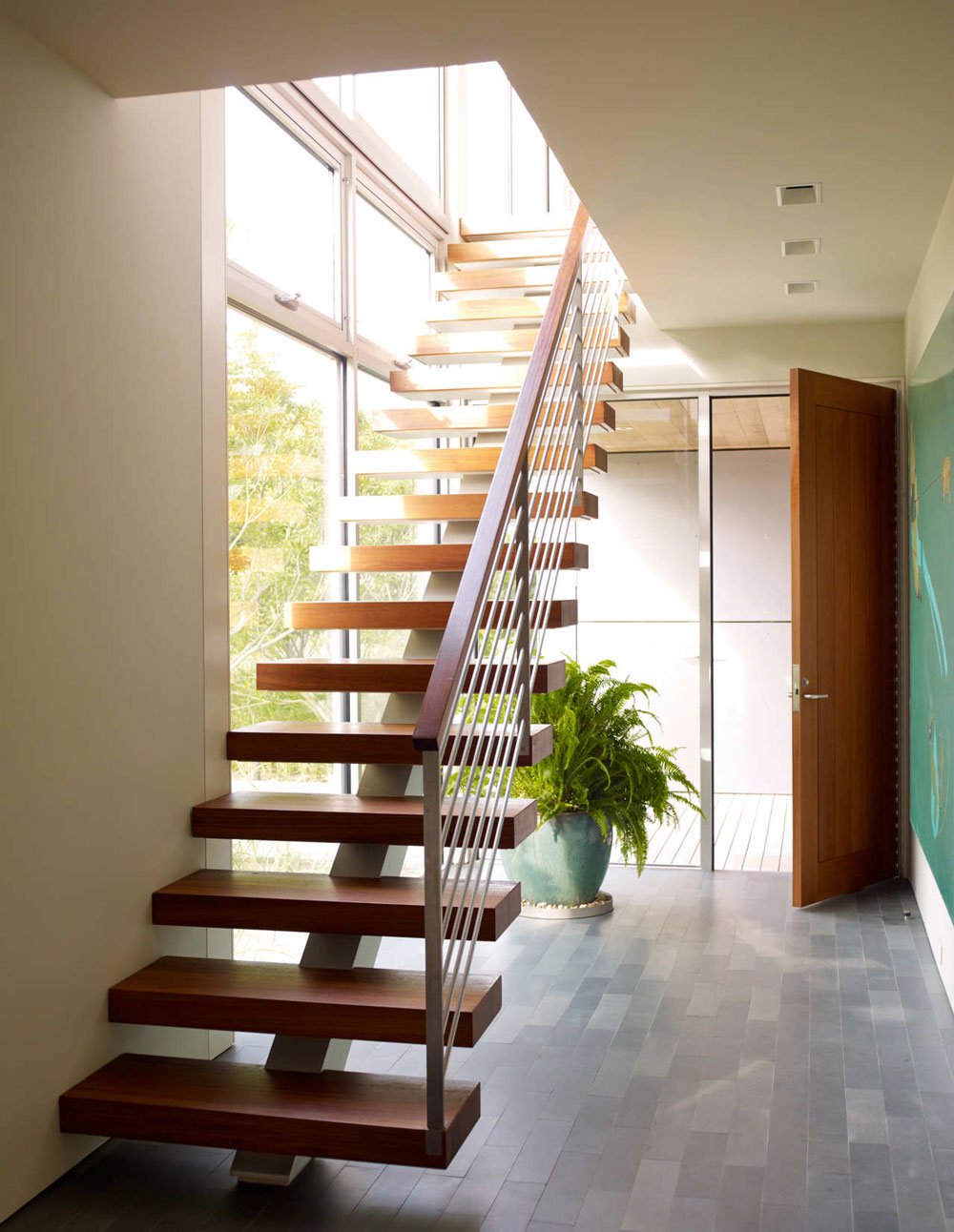 Modern Wood Stairs, Surfside House in Bridgehampton, New York by Stelle Architects