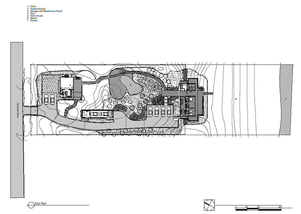 Site Plan, Surfside House in Bridgehampton, New York by Stelle Architects