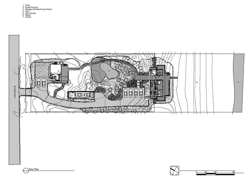 Site Plan, Surfside House in Bridgehampton, New York by Stelle Architects