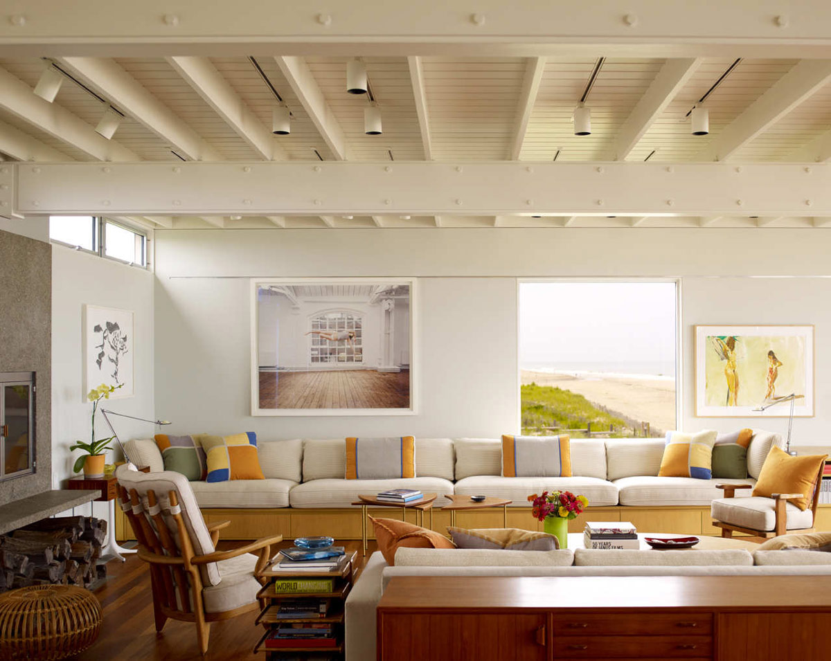 Sofas, Living Space, Surfside House in Bridgehampton, New York by Stelle Architects