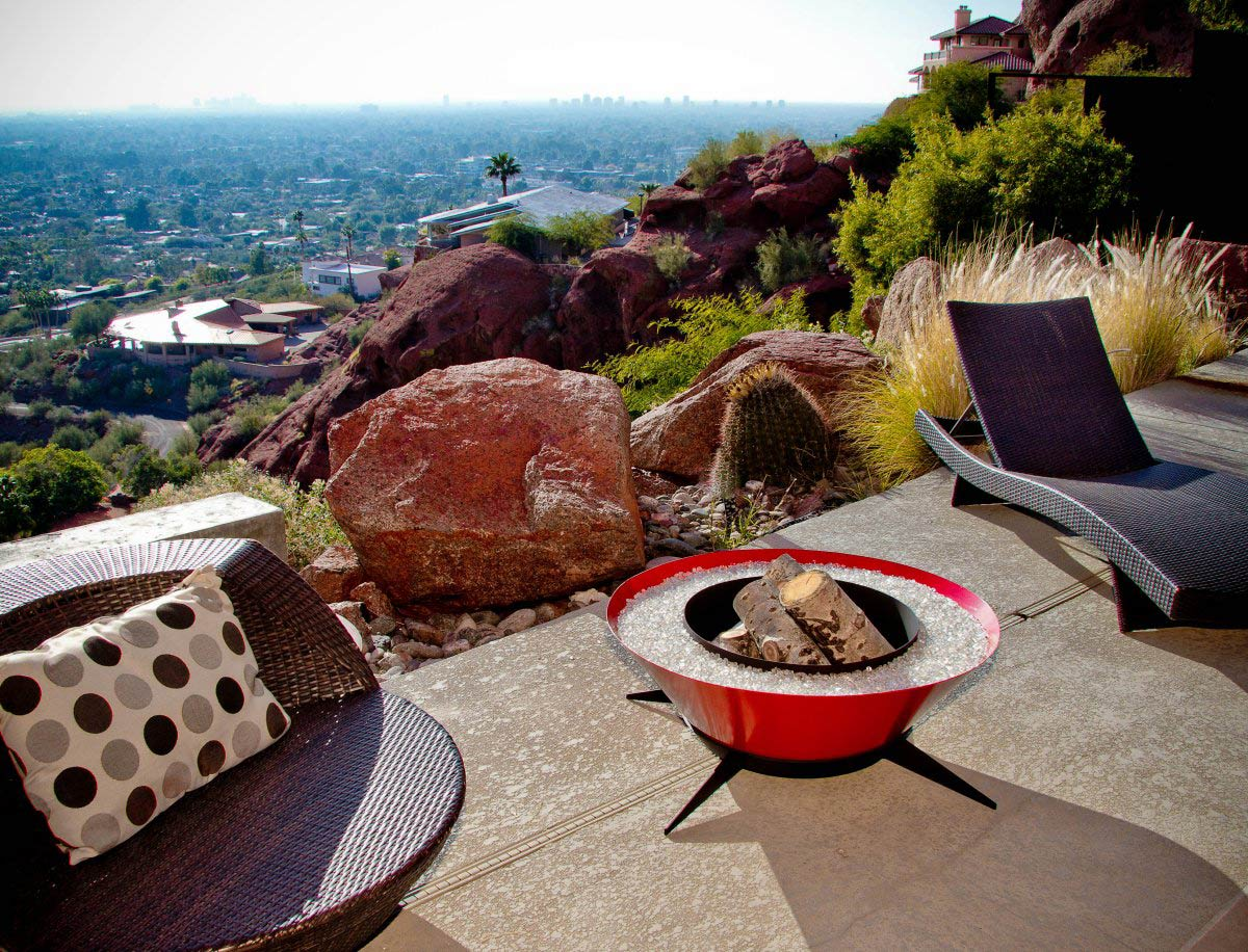 Red Outdoor Fireplace, Astrofire by Modfire