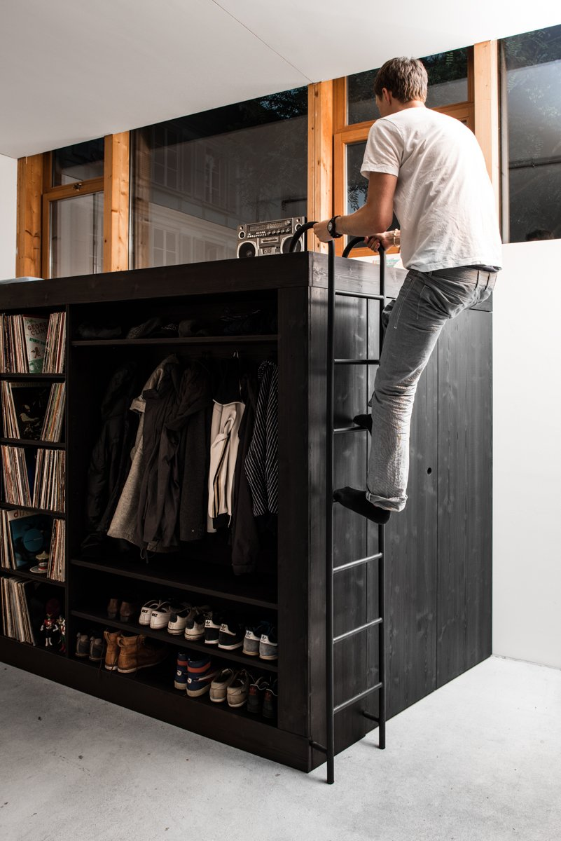 Bed, Ladder, Storage Solution for Small Apartments