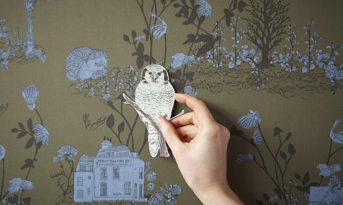 Bird on Khaki, Magnetic Woodlands Wallpaper by Sian Zeng