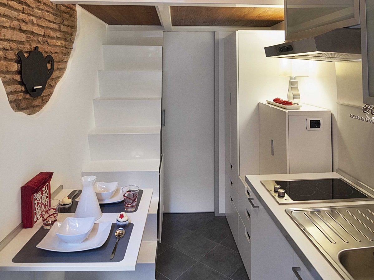 Dining Table, Kitchen, Stairs, Tiny House in Rome