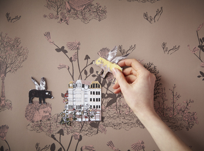 Flying Pigs, Magnetic Woodlands Wallpaper by Sian Zeng