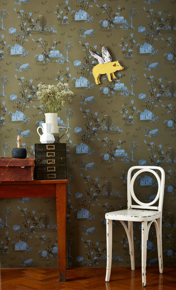 Yellow Flying Pig, Magnetic Woodlands Wallpaper by Sian Zeng