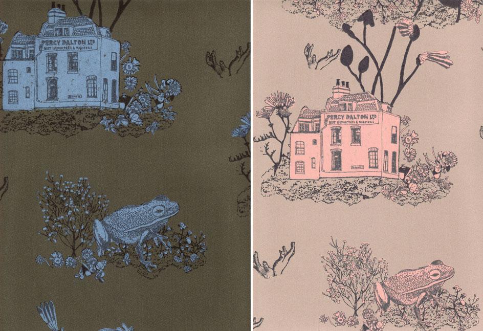 Khaki & Pink Magnetic Woodlands Wallpaper by Sian Zeng