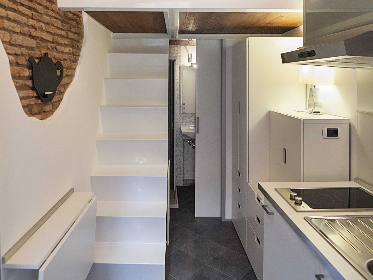 Kitchen Bathroom Stairs Tiny House in Rome Home