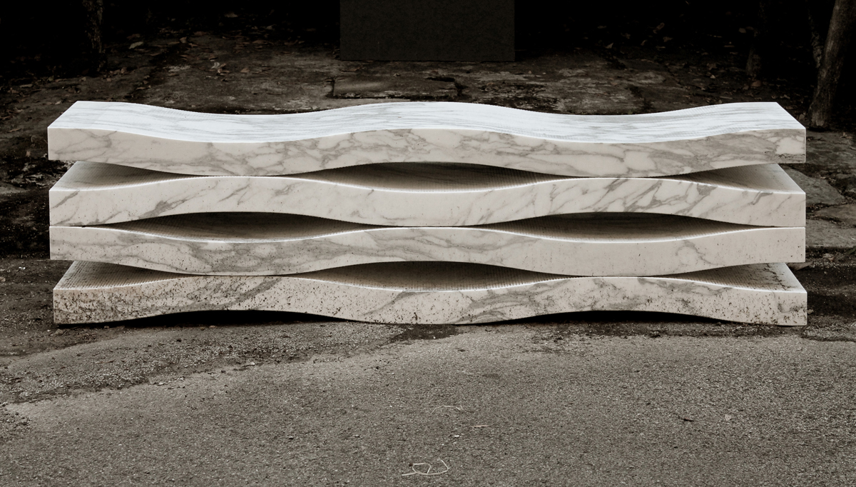 Marble Bench Cut from a Single Block