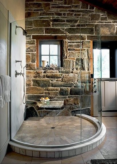 Circular Shower & Stone Walls