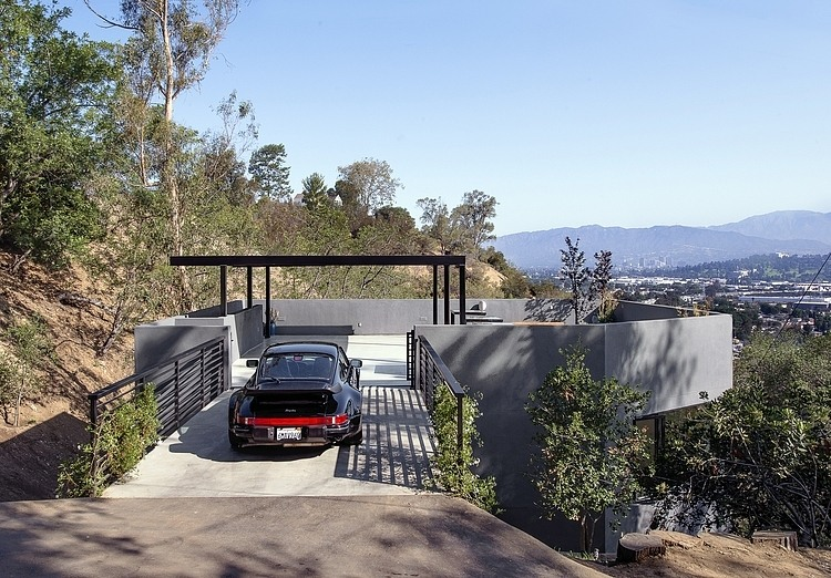Bridge, Carport, Hillside House with a Rooftop Carport