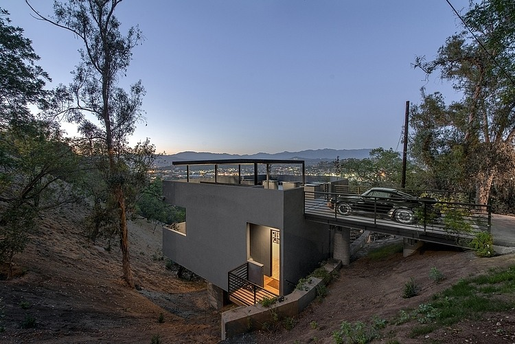 Side Facade, Carport, Hillside House with a Rooftop Carport