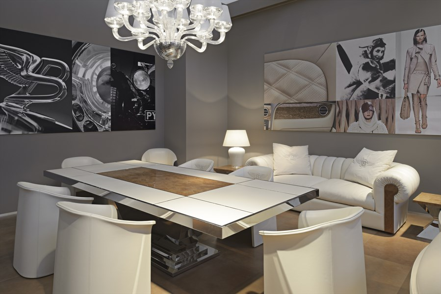 Dining Table, Chandelier, Chairs, Bentley Home Furniture Collection