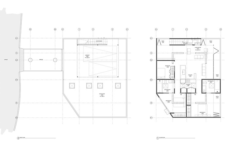 Floor Plan, Hillside House with a Rooftop Carport