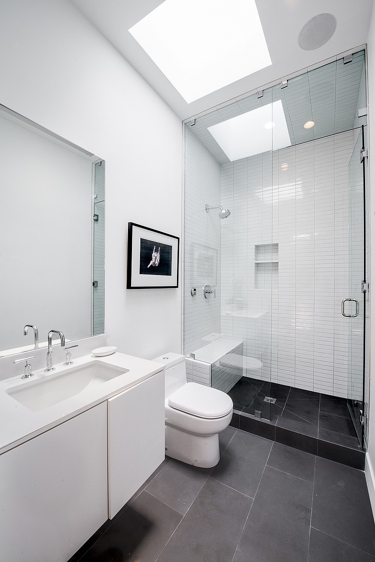 Glass Shower, Grey & White Bathroom, Hillside House with a Rooftop Carport