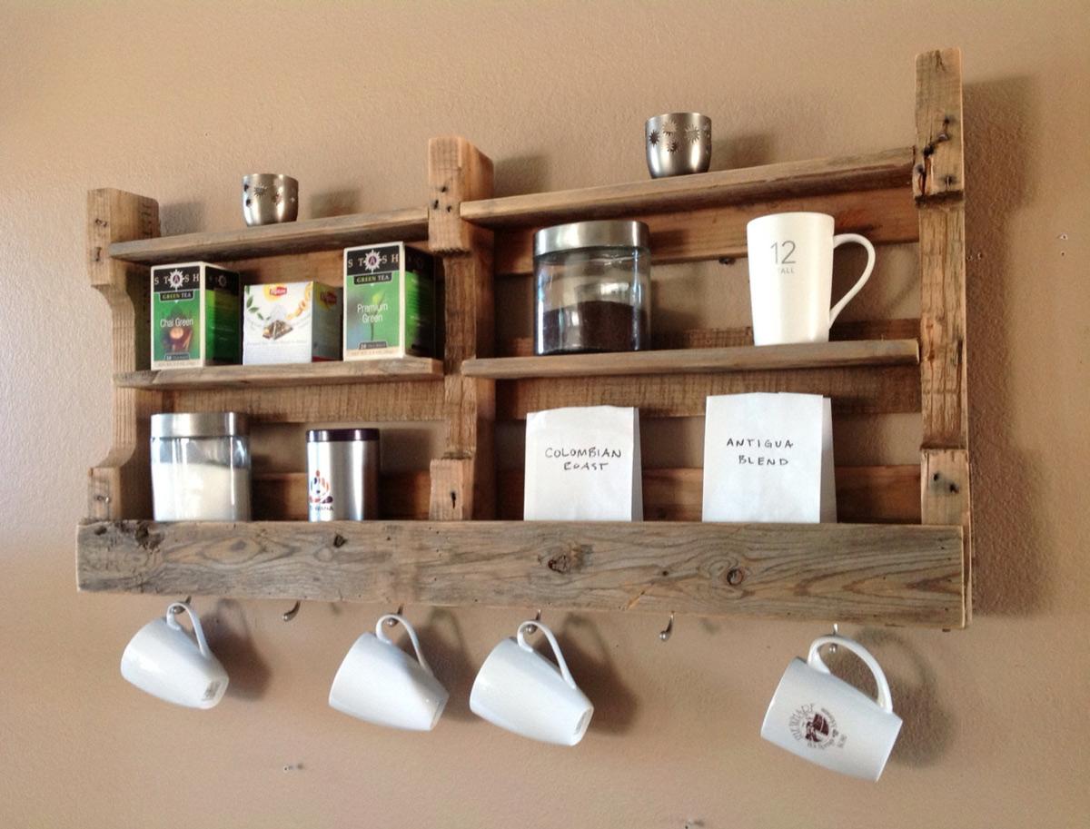 Reclaimed Wood Coffee & Tea Shelf