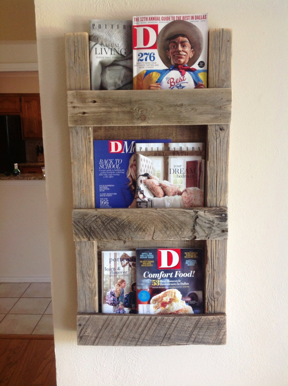 Reclaimed Wood Magazine Rack