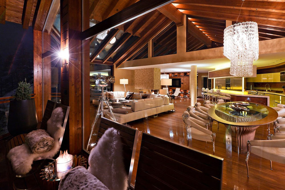 Open Plan Dining, Living Space, Luxury Boutique Chalet in Zermatt