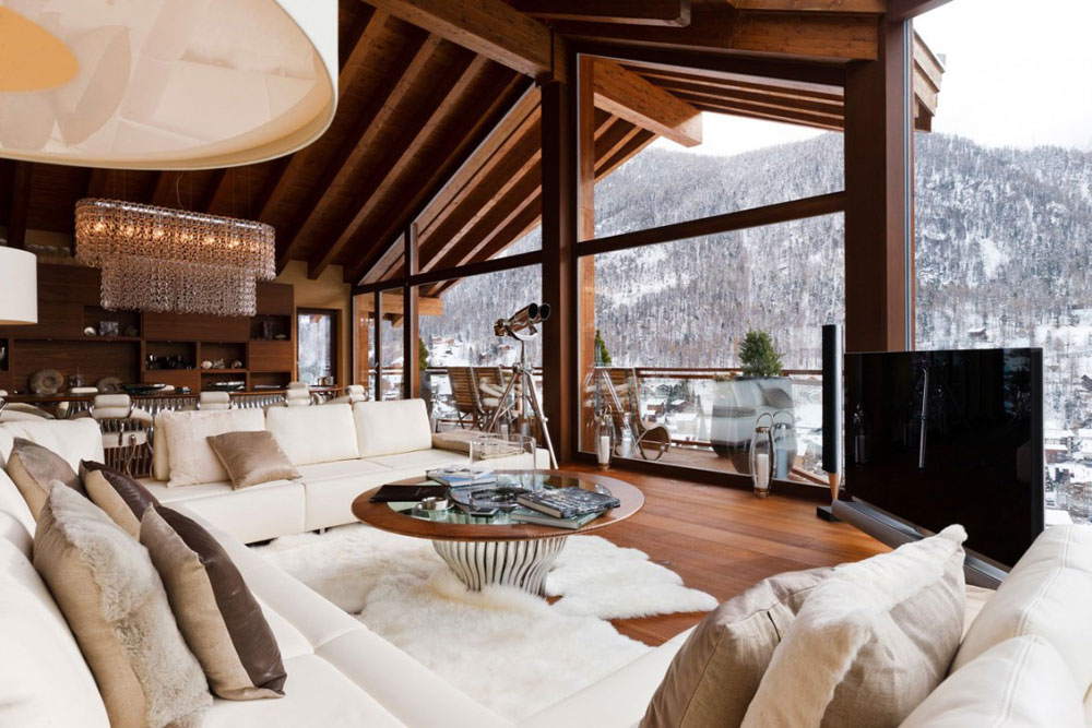 White Sofas, Living Room, Luxury Boutique Chalet in Zermatt