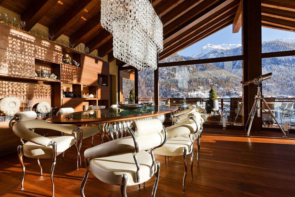 Dining, Living Space, Luxury Boutique Chalet in Zermatt