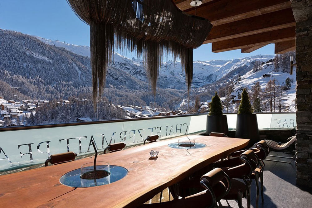 Outdoor Dining, Balcony, Luxury Boutique Chalet in Zermatt