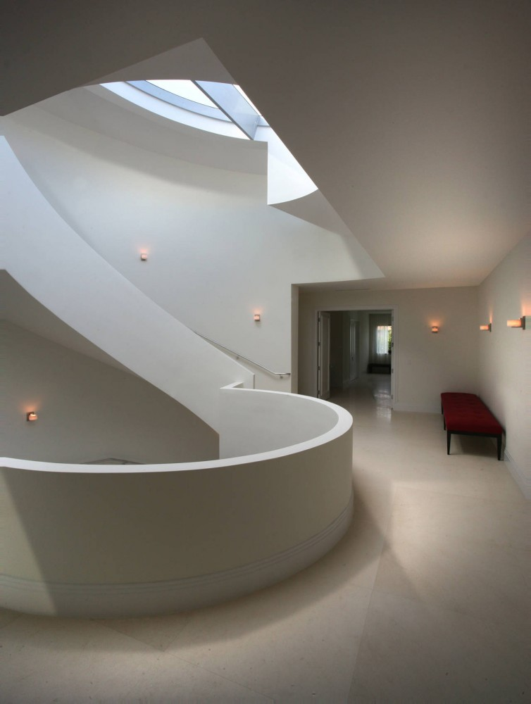 Landing, Modern Stairs, Contemporary Home in Miami Beach, Florida