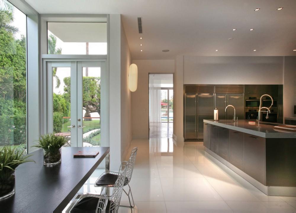 Kitchen Island, Breakfast Table, Contemporary Home in Miami Beach, Florida