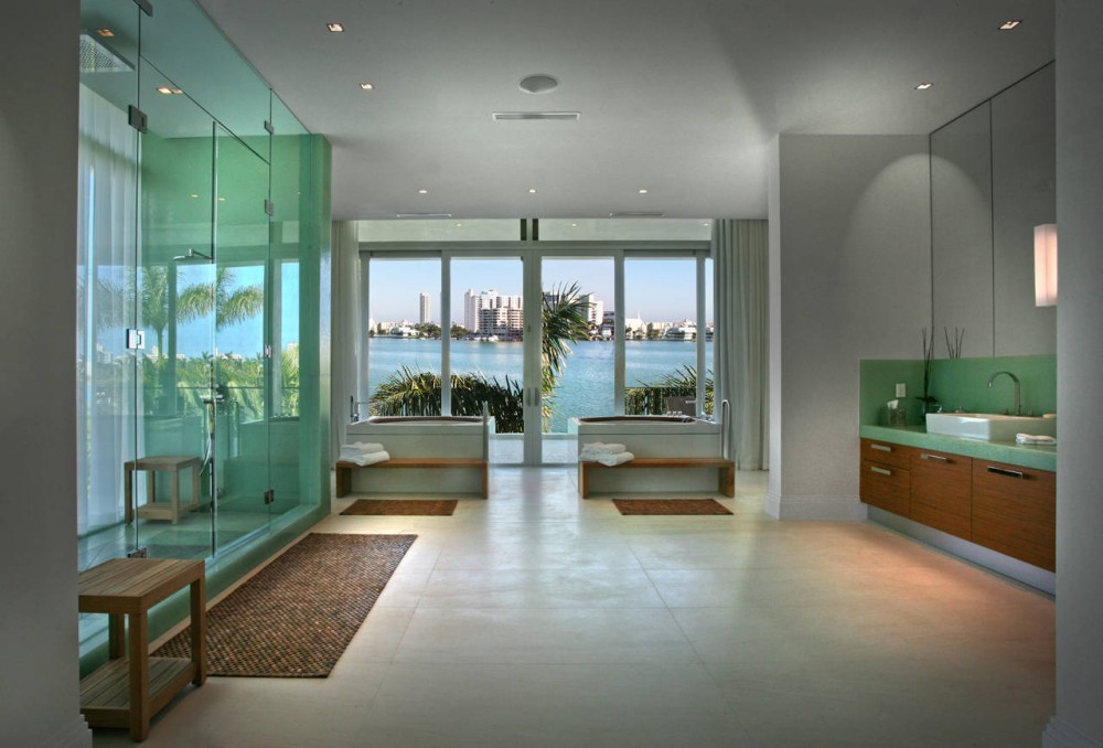 Bathroom, Contemporary Home in Miami Beach, Florida