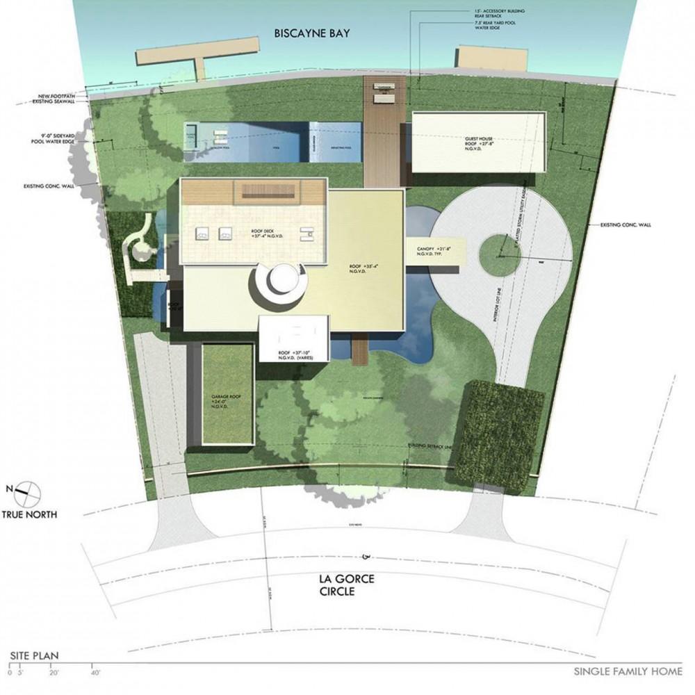 Floor Plan, Contemporary Home in Miami Beach, Florida
