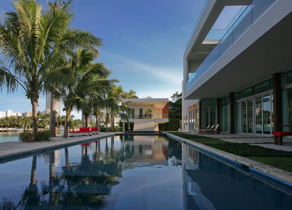 Pool, Terrace, Contemporary Home in Miami Beach, Florida