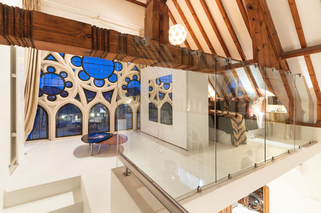Glass Balustrading, Landing, Thick Wood Beams, Church Conversion in London, England