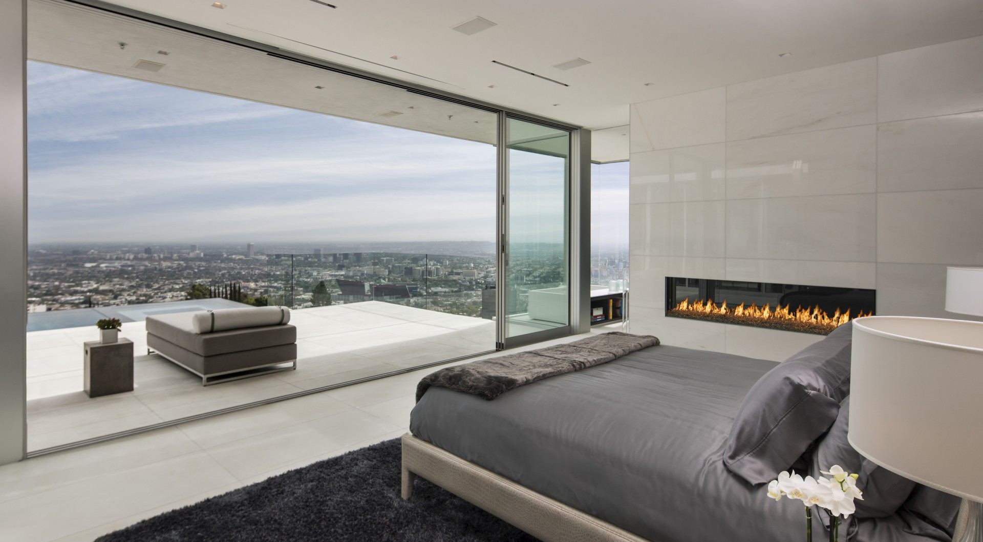 Bedroom, Contemporary Fireplace