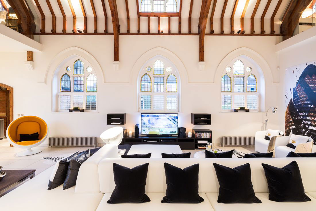 Wood Beams, White Sofa, Church Conversion in London, England