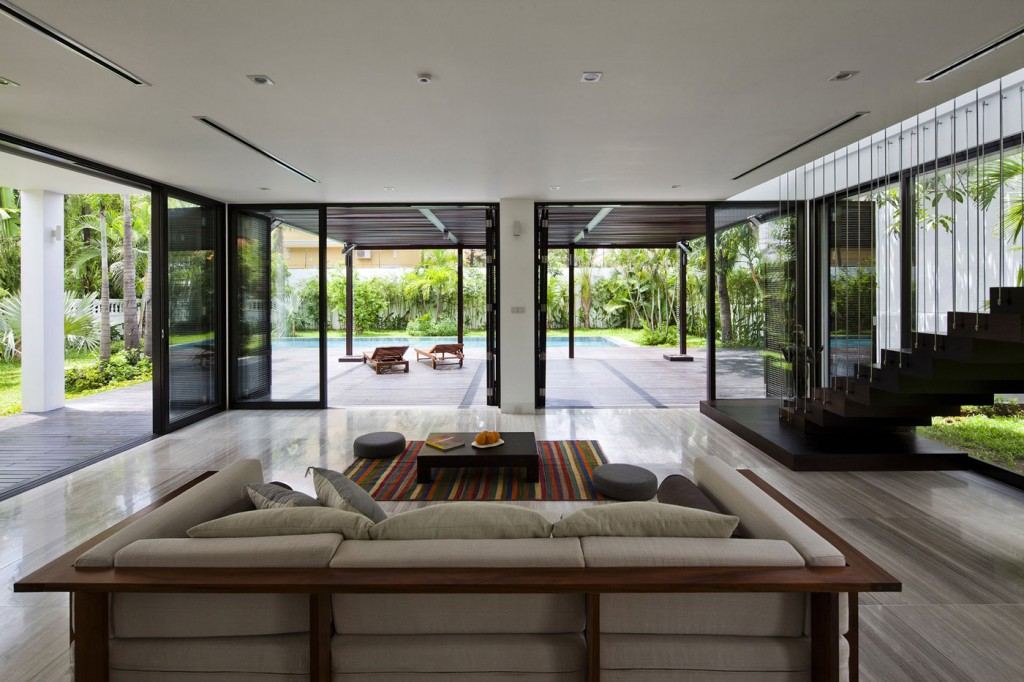 Living Space, Grey Sofa, Glass Sliding Doors