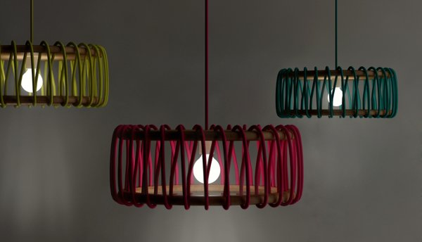Colorful Wood and Lace Lamps