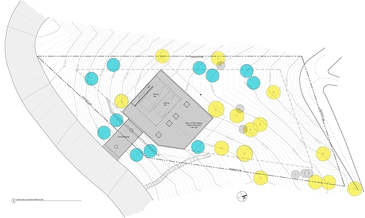 Site Plan, Hillside House with a Rooftop Carport