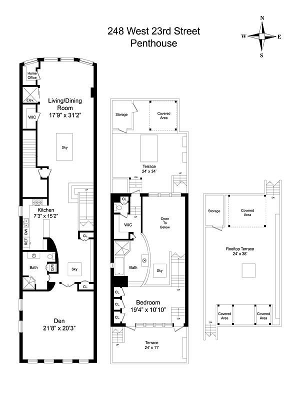 Floor Plan, Penthouse in Chelsea, New York City