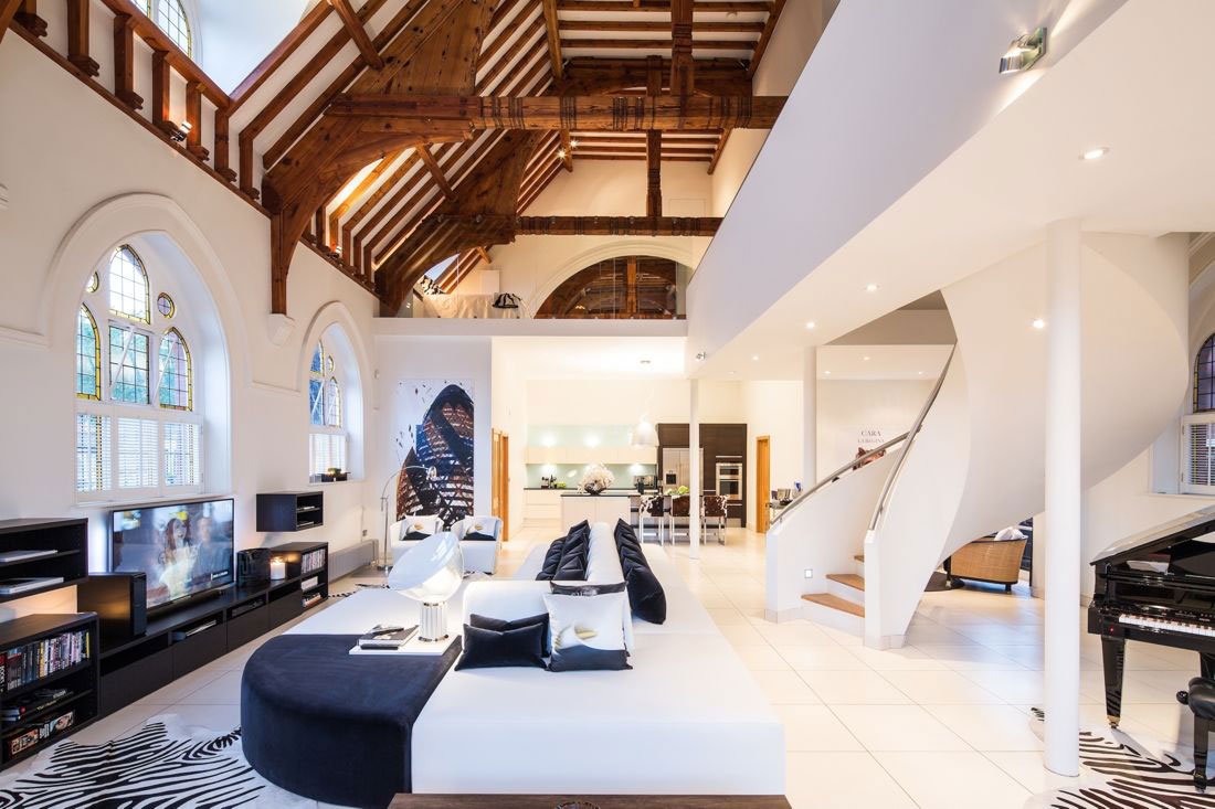 Spiral Stairs, Ceiling Beams, Church Conversion in London, England