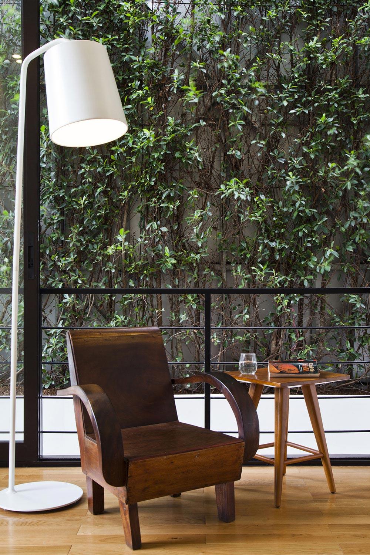 Chair, Lighting, Side Table